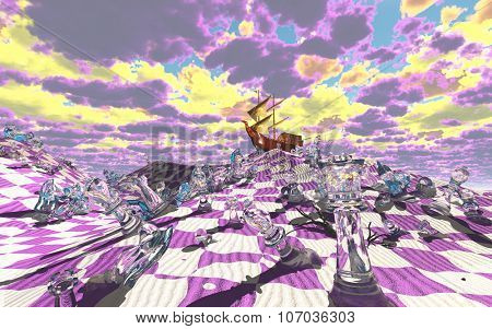 Vividly hued surreal checker board desert scene