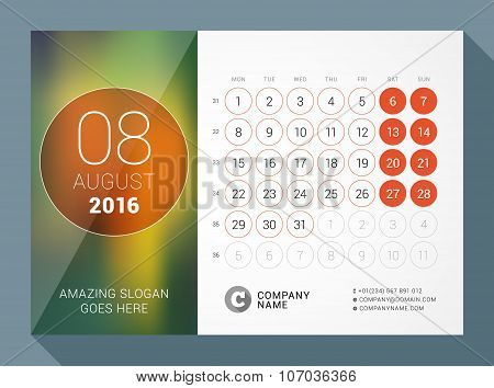 August 2016. Desk Calendar For 2016 Year. Vector Design Print Template With Place For Photo And Circ