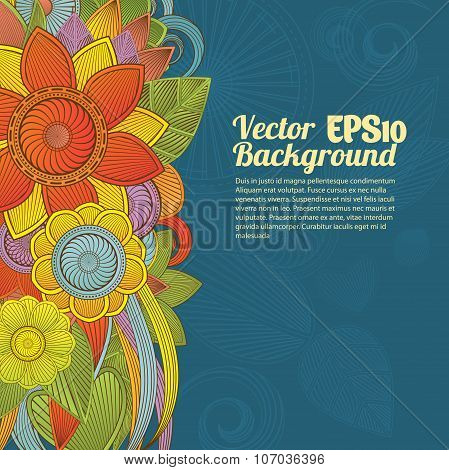 Detailed vector colorful floral background