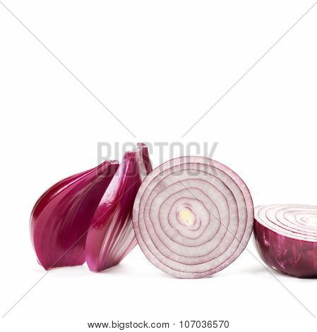 Natural farmers red onions, halved. texture macro view