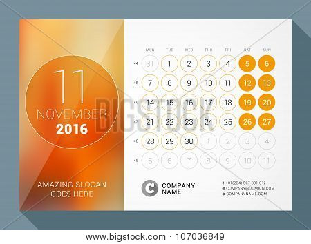 November 2016. Desk Calendar For 2016 Year. Vector Design Print Template With Place For Photo And Ci