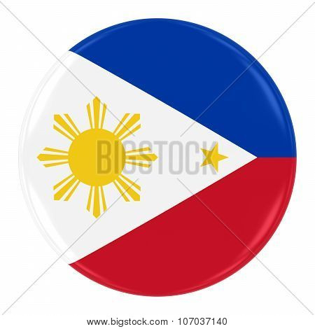 Filipino Flag Badge - Flag Of The Philippines Button Isolated On White