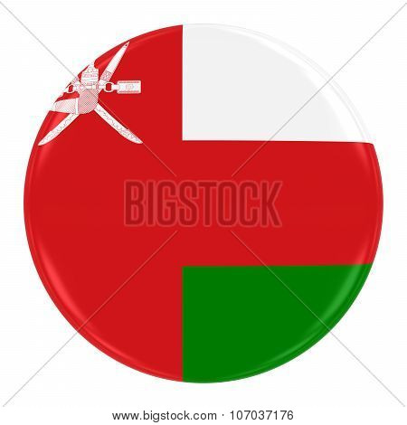 Omani Flag Badge - Flag Of Oman Button Isolated On White
