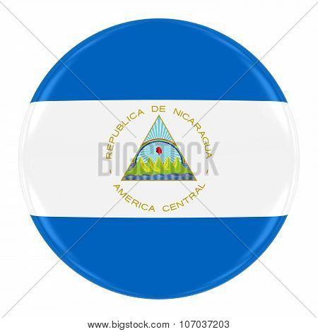 Nicaraguan Flag Badge - Flag Of Nicaragua Button Isolated On White