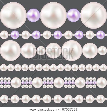 Pearl Realistic Borders Set Vector Illustration