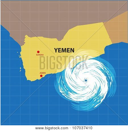 Hurricane approaching Yemen coastline