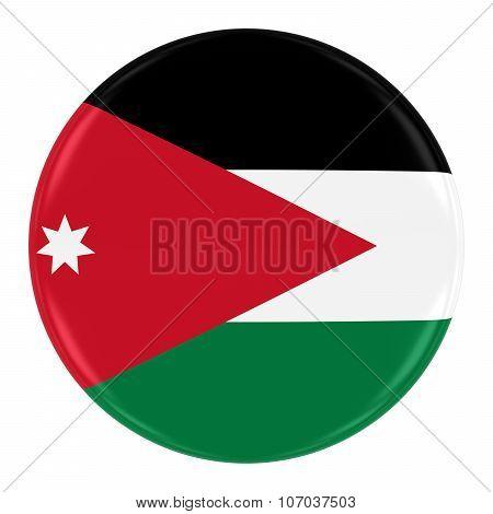 Jordanian Flag Badge - Flag Of Jordan Button Isolated On White