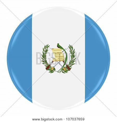 Guatemalan Flag Badge - Flag Of Guatemala Button Isolated On White