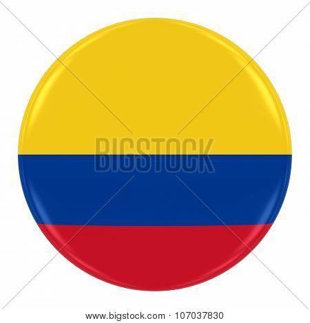 Colombian Flag Badge - Flag Of Colombia Button Isolated On White