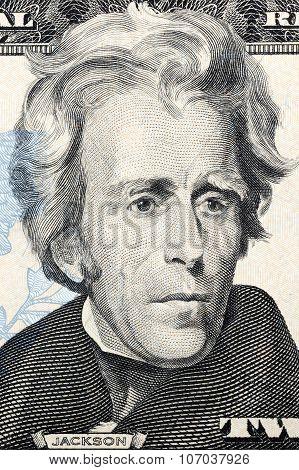 Portrait of Andrew Jackson on twenty dollars