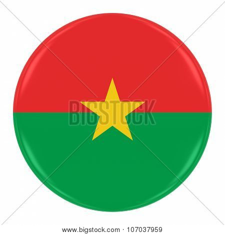 Burkinabe Flag Badge - Flag Of Burkina Faso Button Isolated On White