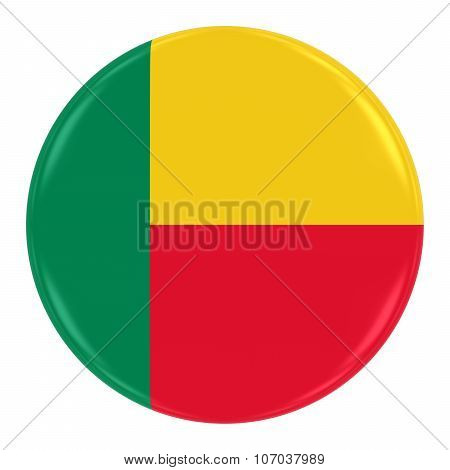 Beninese Flag Badge - Flag Of Benin Button Isolated On White