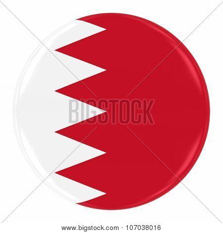 Bahraini Flag Badge - Flag Of Bahrain Button Isolated On White