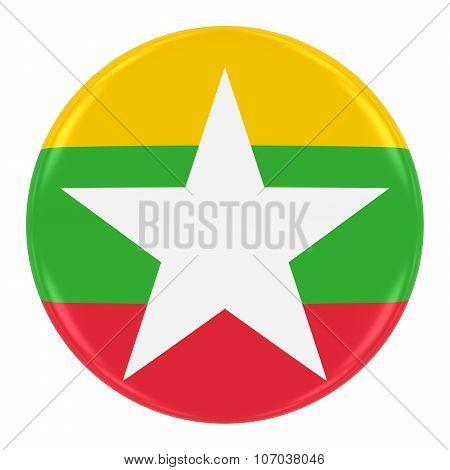 Burmese Flag Badge - Flag Of Myanmar (burma) Button Isolated On White