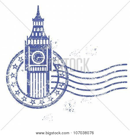 Grunge round stamp with Big Ben - landmark of London