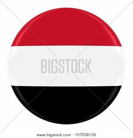Yemeni Flag Badge - Flag Of Yemen Button Isolated On White