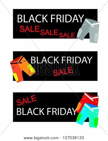 Shorts Pant On Three Black Friday Sale Banners