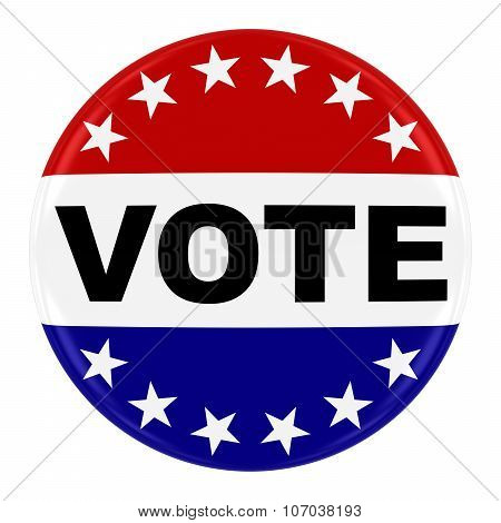 Vote Pin Badge - Us Elections Button With Ring Of Stars Isolated On White