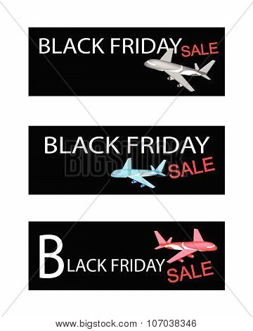 Airplanes On Three Black Friday Sale Banners