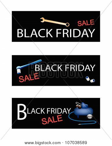 Air Compressor With Repair Tools Kits On Black Friday Banners