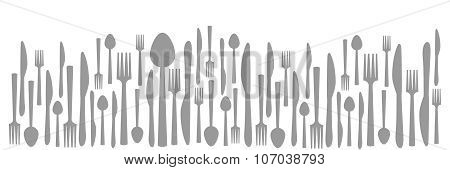 Fork Knife Spoon Abstract Gray Horizontal