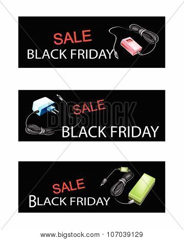 Adaptor Power Supply On Black Friday Sale Banners