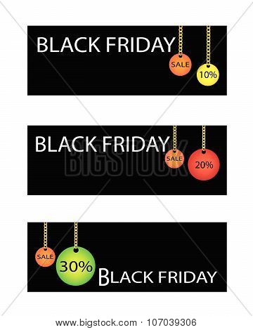 Black Friday Sale Banner With Percentages Discount