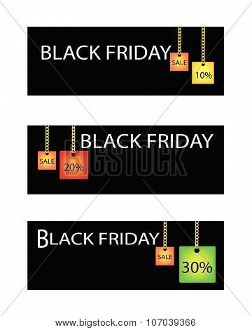 Black Friday Label With Percentages Discount Sale