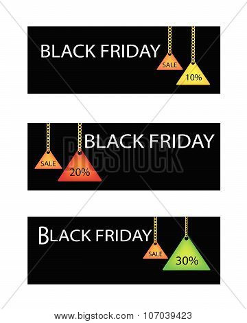 Black Friday Label With Percentages Discount Promotion