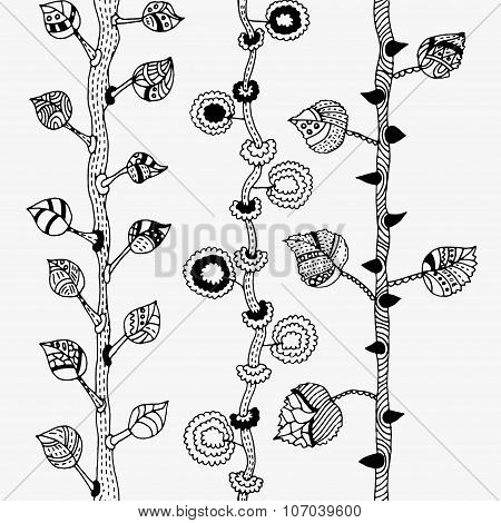 Set of hand-painted trees. Seamless pattern or border. Tree trunk with branches and leaves. Ink pen.