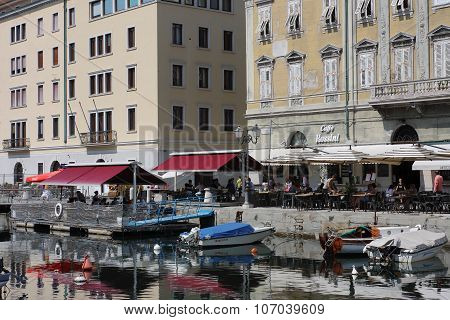 Restaurant In The Grand Canal In Trieste, Italy