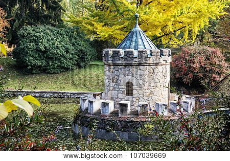 Turret In Bojnice, Autumn Park, Seasonal Colorful Park Scene