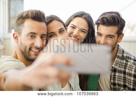 Friends faving fun and making a selfie