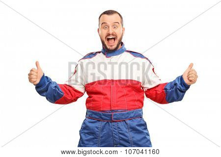 Studio shot of an overjoyed car racer gesturing happiness and looking at the camera isolated on white background
