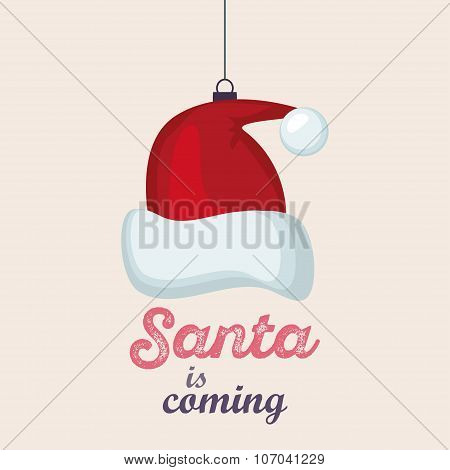 Merry Christmas Vintage Retro Typography Lettering Design Greeting Card with toy  red santa hat