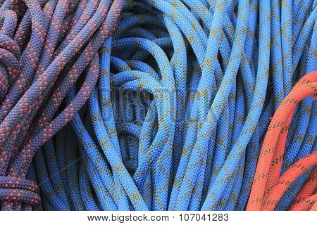 Three Folded Colored Climbing Ropes From Nylon Is Lying On The Ground