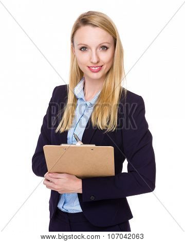 Caucasian Young Businesswoman hold with clipboard