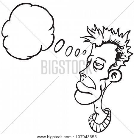 simple black and white man thinking cartoon