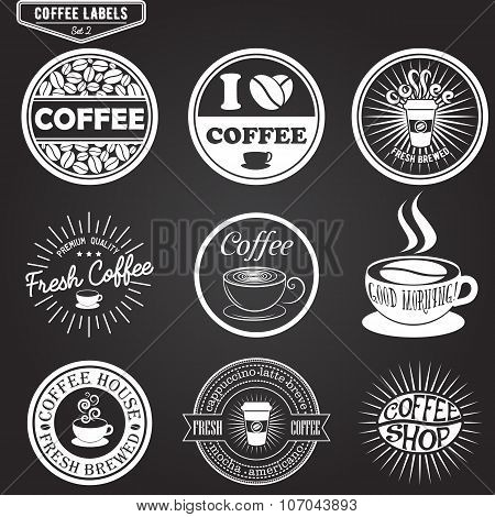 Set of coffee labels, design elements, emblems and badges. Isolated vector illustration in vintage s