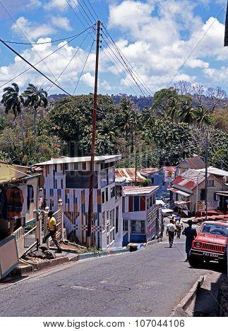 Scarborough village street, Tobago.