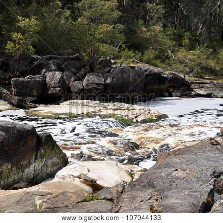 Circular Pools: Saponin Created Cappuccino Foam,Frankland River
