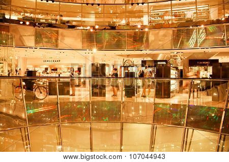 Customers Buying Clothes In Shopping Mall Galerie Lafayette