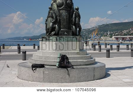 The Bronze Monument Of Soldiers Of World War.