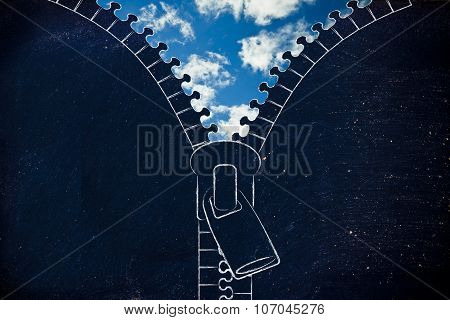 Zip Opening Up On A Blue Sky, Metaphor Of Optimism