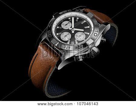 Modern Wristwatch On Black