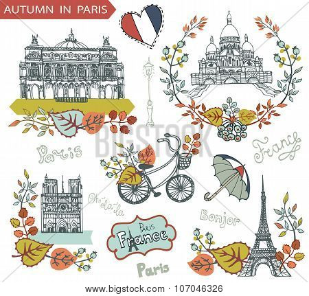 Autumn in Paris.Famous landmarks and floral decorations