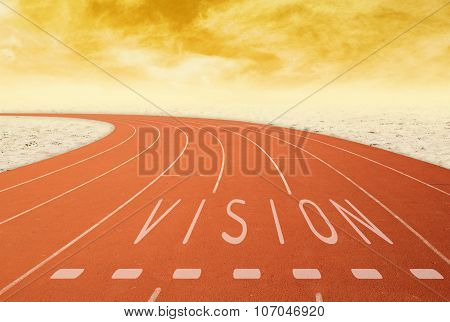 Outdoor Running Track With Sign Vision With Desert At Sunset