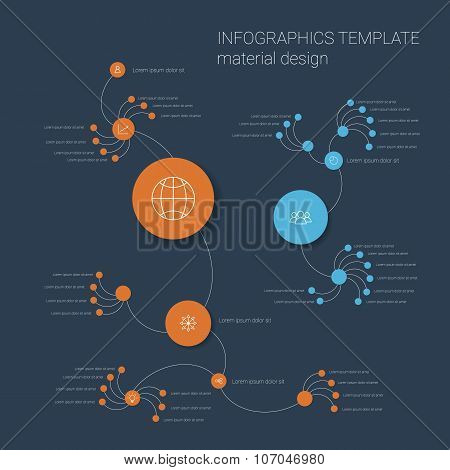 Colorful infographics template with circles. Organizational chart layout. Business presentation icon