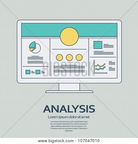 Business analysis background with computer devices and line art icons responsive design. Presentatio