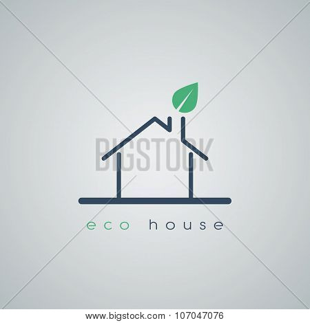 Eco friendly house icon in modern line art design with green leaf from chimney on roof. Environmenta